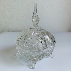 Vintage Crystal Candy Bowl with Lid